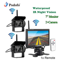 Podofo 7 Inch Car Parking Monitor with Reversing Camera 2.4 GHz wireless Transmitter Receiver Rearview Kit for RV Truck Trailer
