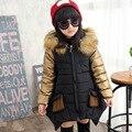 4-16Years Niñas Abrigo de Invierno 2016 Niños Chaquetas Chicas ropa de Abrigo cuello de pelo Largo Niñas Abrigo de Piel Gruesa Con Capucha de Algodón natural