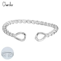 925 Sterling Silver Infinity Double Knot Twist Open Ring Wire Forever Love For Women Girl Wedding