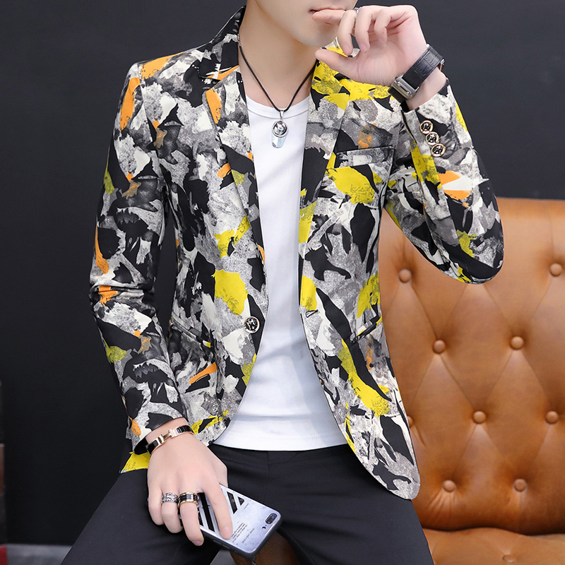 HO 2020 Spring And Autumn Men's Printed Suits New Personality Trend Suits