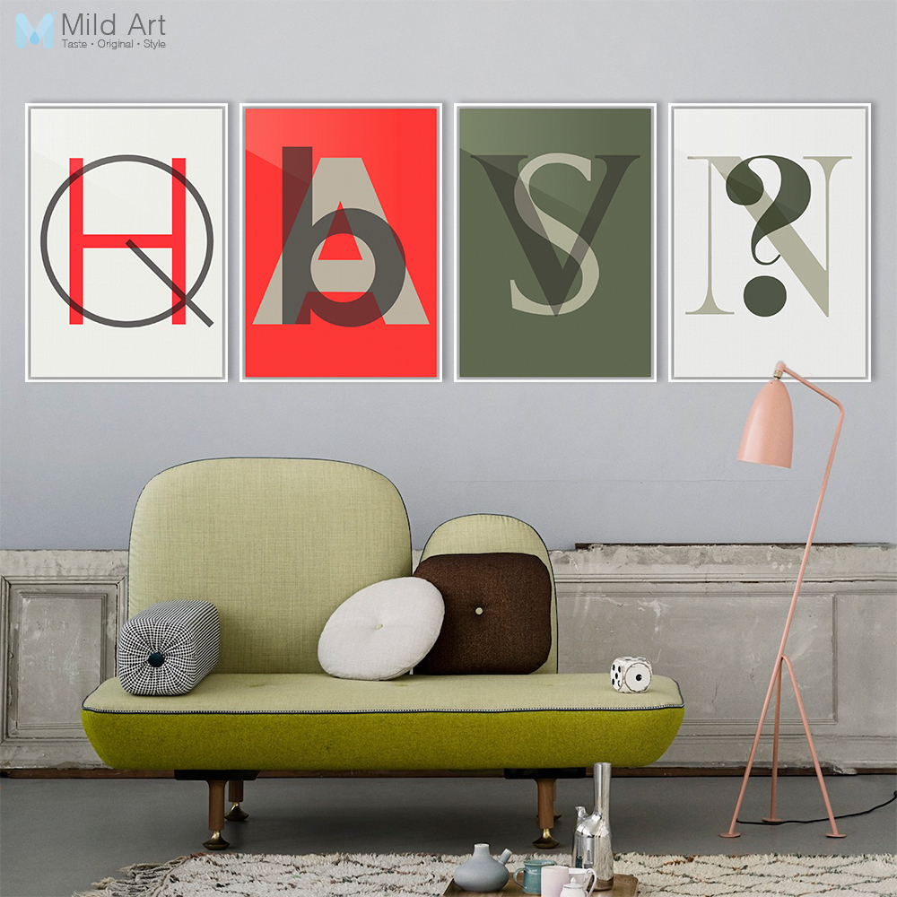 Modern Nordic Abstract Letter Graphic <font><b>Hipster</b></font> Art Print Poster Wall Picture Living Room Canvas Painting No Frame <font><b>Home</b></font> <font><b>Decoration</b></font>