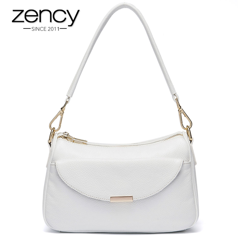 Zency Women Shoulder Bag 100 Genuine Leather Fashion Summer White Small Bag Lady Messenger Crossbody Purse