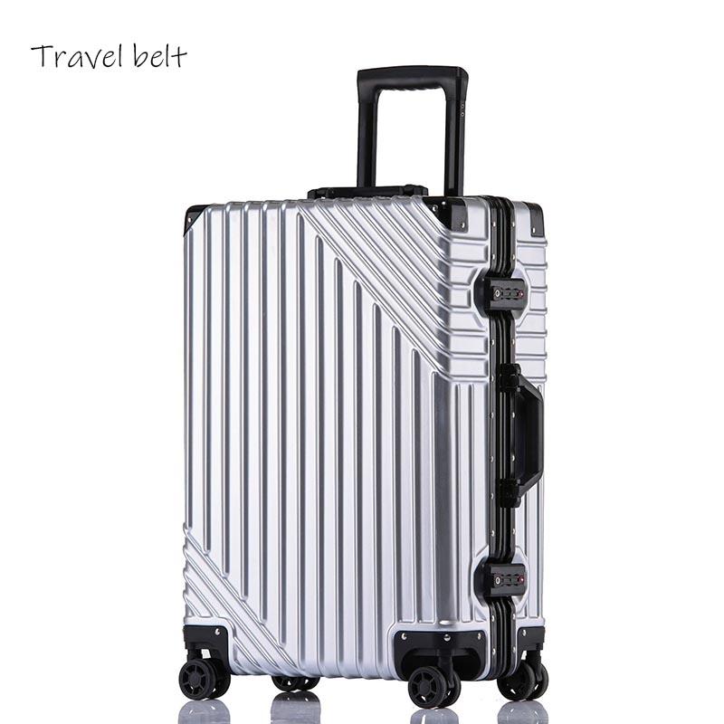 Luxe haute qualité 100% cadre en aluminium 20/24/26/29 pouces taille dernière mode roulement bagages Spinner marque valise de voyage