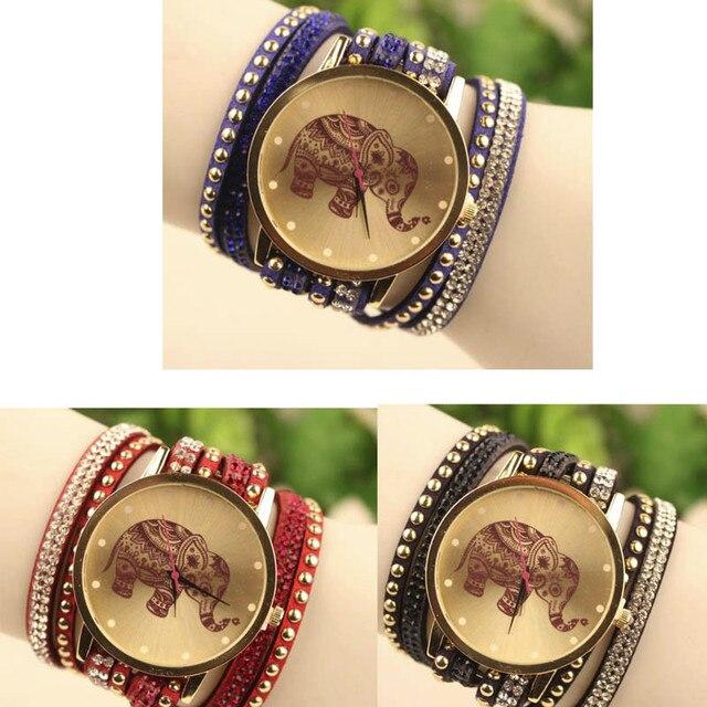 Fashion Bracelet Watch Clock Gift Woman Luxury Brand watches Elephant Watch Women Round Diamond Dress Jewelry Quartz Wrist Watch 3