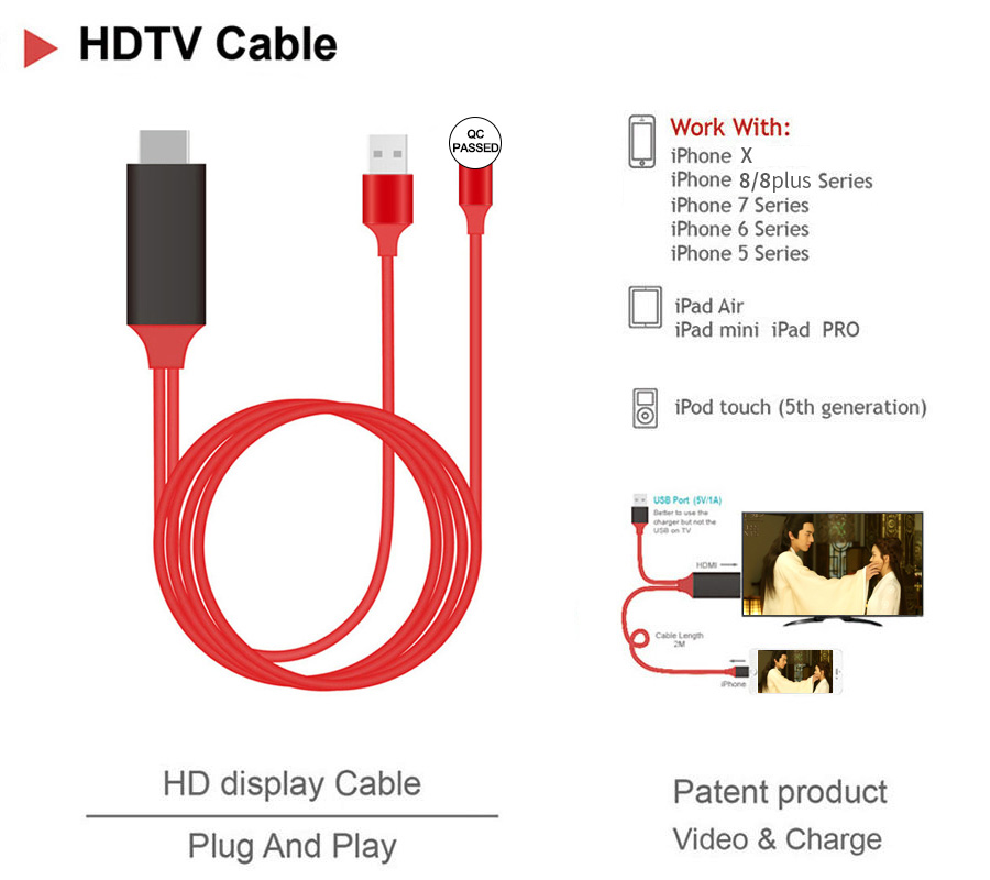 1080P Full-HD HDMI Mirroring Airplay Cable HDTV Cable For IOS Smart Phone HDMI USB Wired TV Stick For IPhone Series