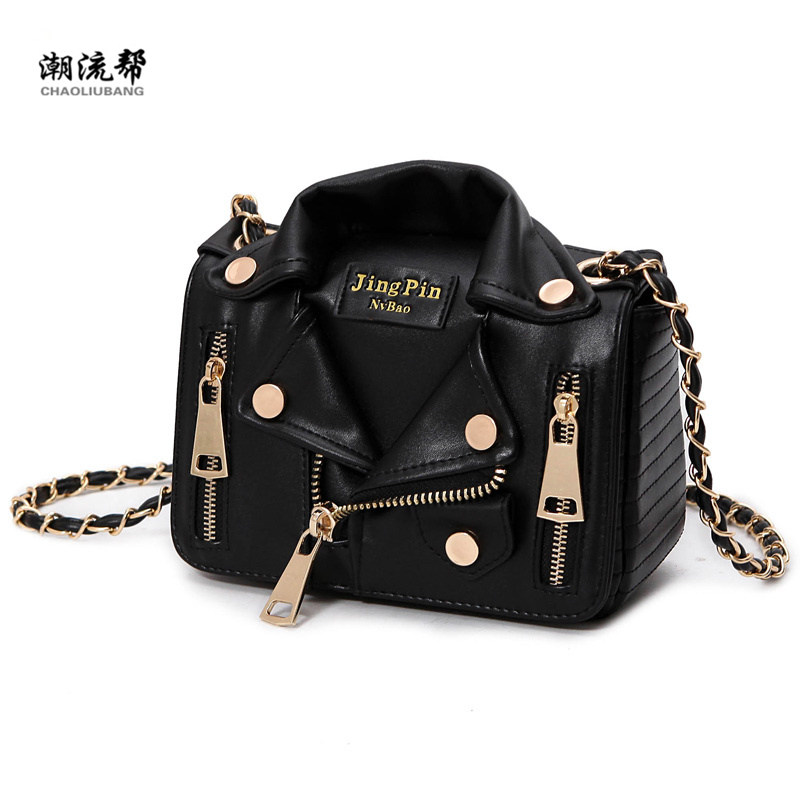New European Brand Designer Chain Motorcycle Bags Women Clothing Shoulder Rivet Jacket Bags Messenger Bag Women Leather Handbags