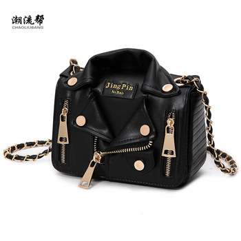 цены New European Brand Designer Chain Motorcycle Bags Women Clothing Shoulder Rivet Jacket Bags Messenger Bag Women Leather Handbags