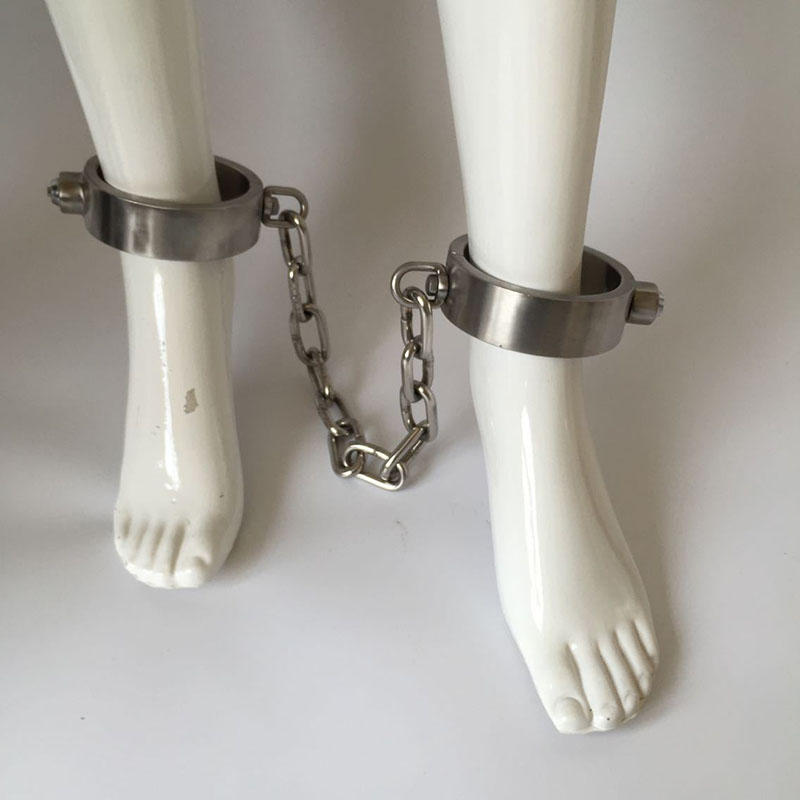 Sex tools for sale stainless steel leg cuffs sex BDSM bondage adult slave games fetish Foot cuffs sex toys for couples sex shop adult games sexy latex device sex fetish toys hot sale rubber hanging neck chest tight wrapped tools for women