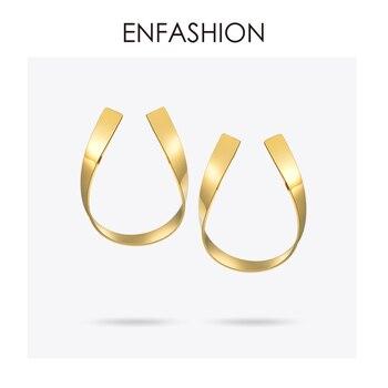 Enfashion Jewelry Геометрическая лента серьги золотистого цвета из нержавеющей стали длинные серьги для Для женщин серьги EB171039