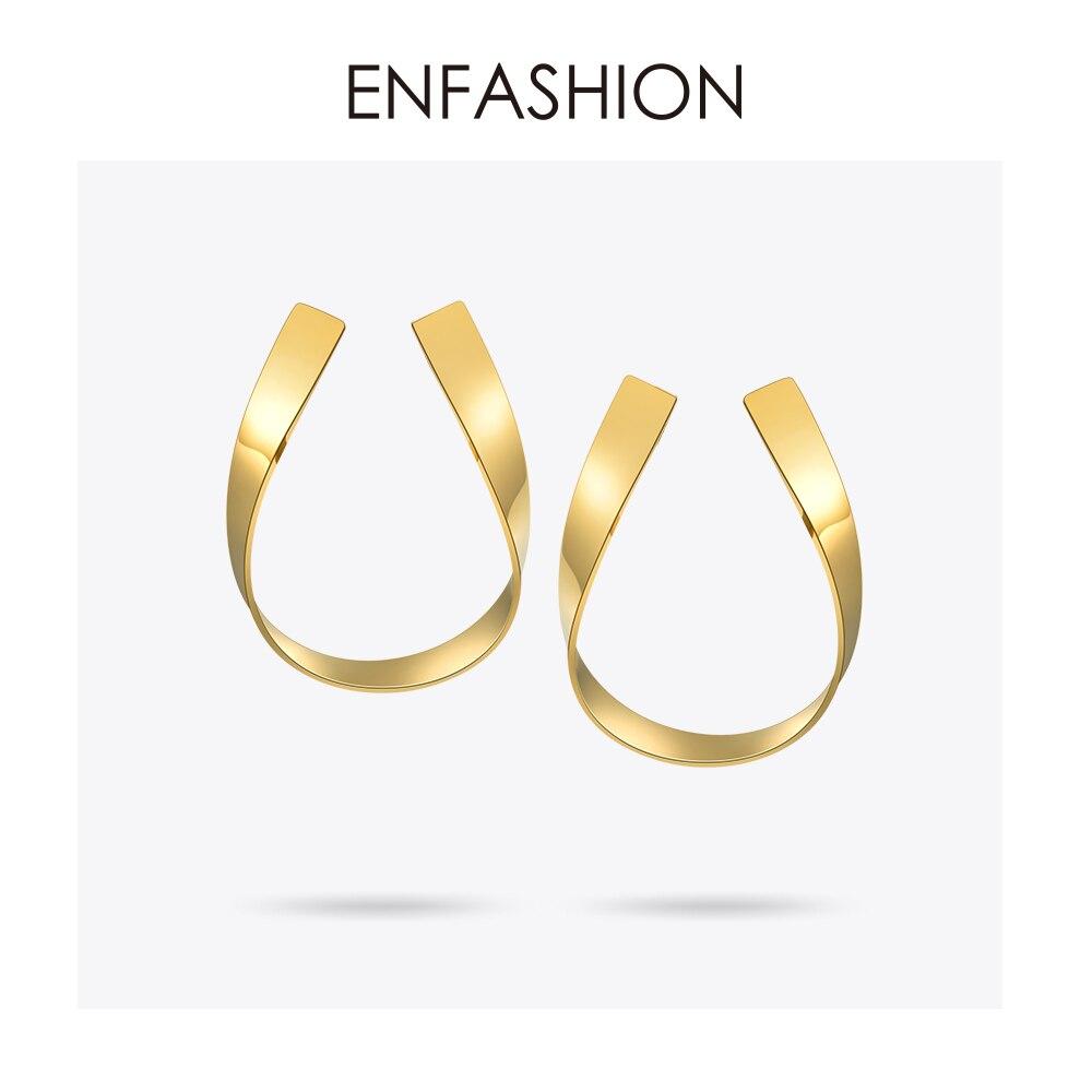 Jóias Enfashion Fita Geométrica Brincos de aço Inoxidável da cor do Ouro Longa Queda Brincos Para As Mulheres Brincos EB171039