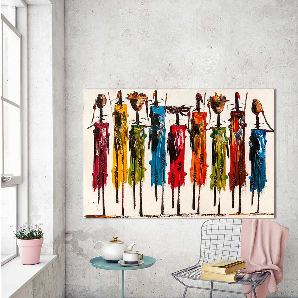 HDARTISAN Canvas Art Figure Painting Africans Wall Pictures For Living Room Home Decor Frameless QK2372
