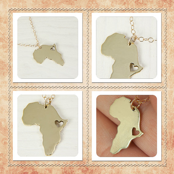 N034 African Map Necklace Country of South Africa Map Necklace Adoption Necklace Ethiopia Ciondolo Africa Heart Necklaces