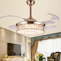 42 inch crystal ceiling fan lamp invisible ceiling fan with lights Modern Nordic pendant ceiling fan for bedroom living room
