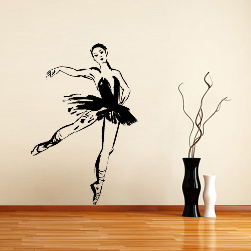 aula decorativo bailarina de ballet pegatina pared de la sala extrable tatuajes de pared de vinilo
