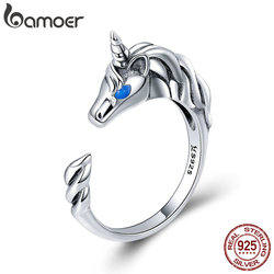 BAMOER 925 Sterling Silver Licorne Memory Long Tail Female Finger Rings for Women Adjustable Size Sterling Silver Jewelry SCR410