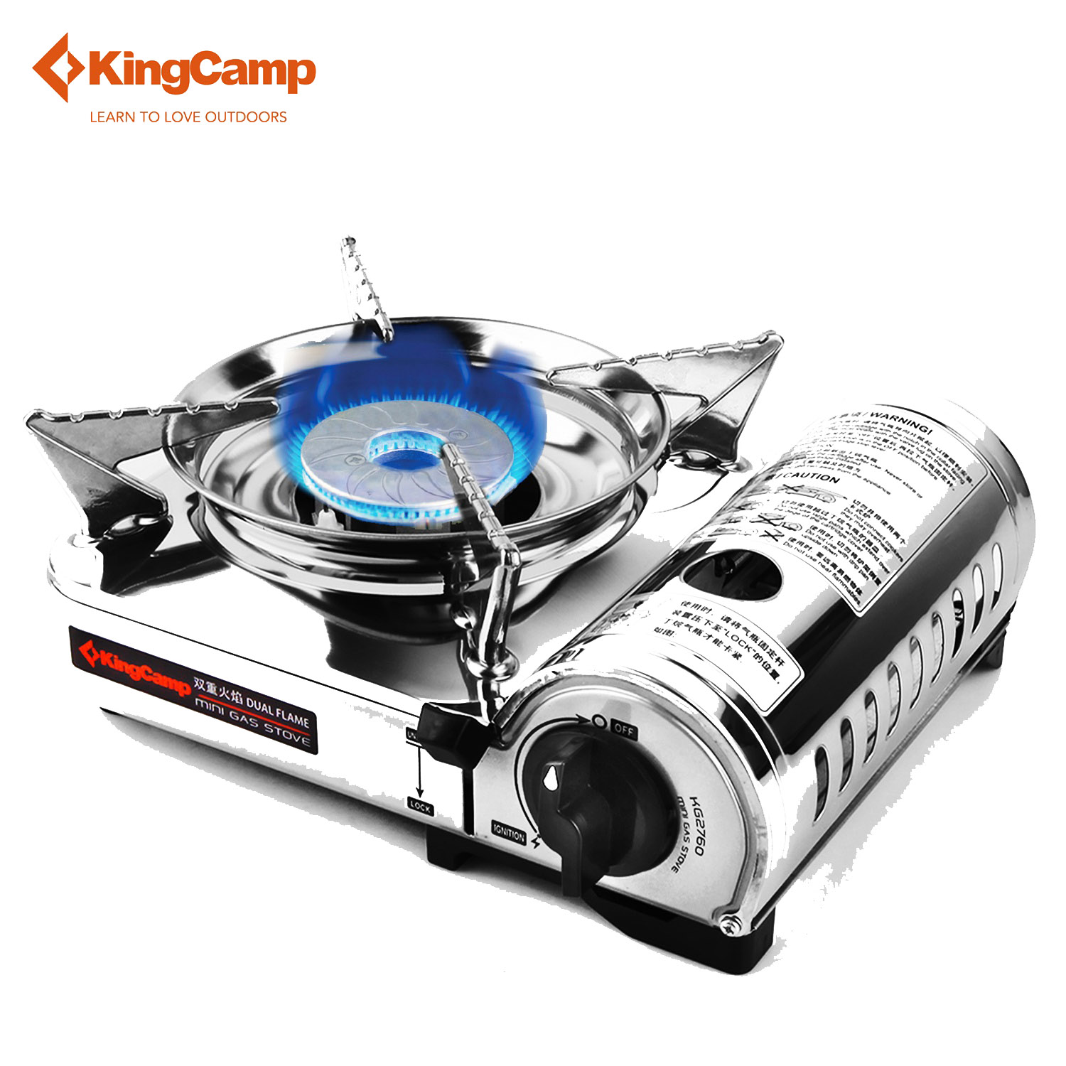 KingCamp <font><b>Stove</b></font> Outdoor Furnace Portable Gas Stainless Steel Camping for Hiking Picnic Cooking Windproof Camping Lightweight Stov