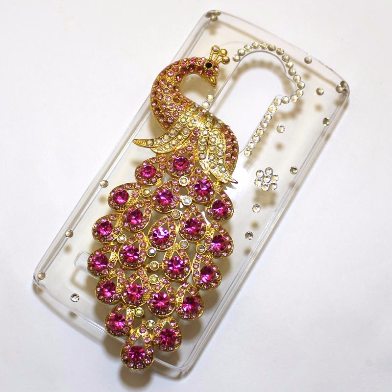 עבור LG ליאון C40 H340N מקרה כיסוי,בעבודת יד 3D חמוד בלינג טווס טלפון Case כיסוי עבור LG ליאון C40 H340N