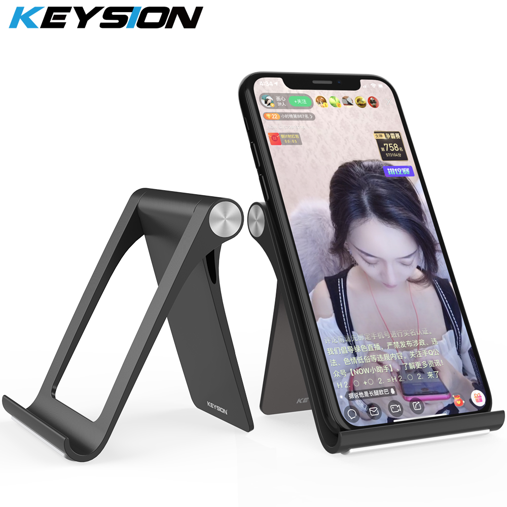 KEYSION Live Phone Holder Stand For IPhone 11 Pro Max XR XS Foldable Mobile Phone Stand For Samsung Desk Tablet Stand For Xiaomi