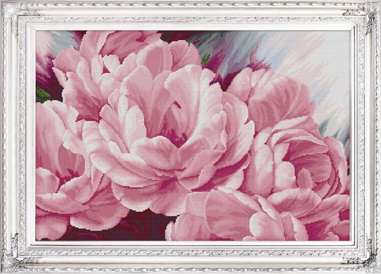 Needlework,DMC DIY Cross Stitch,Embroidery Kit Set,Pink Peony Floral Flower Cross-Stitch Painting Wedding Wholesale