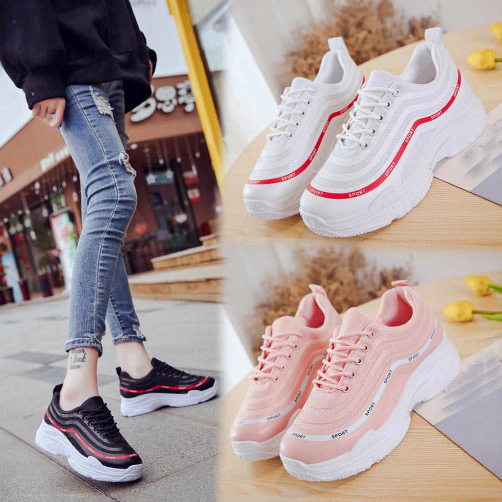 YOUYEDIAN 2018 Fashion Trainers Sneakers Women Shoes Fashion Embroidered  Breathable Hollow Lace-Up Wedges Canvas f28735e42c96