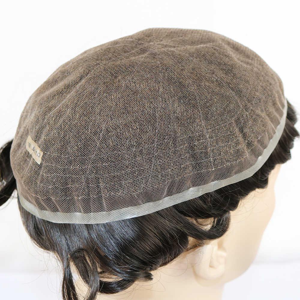 """Eversilky Remy парик из натуральных волос для Для мужчин отбеленные узлы человеческих волос штук для Для мужчин с 10 """"x 8"""" супер тонкий швейцарский шнурок мужской парик"""