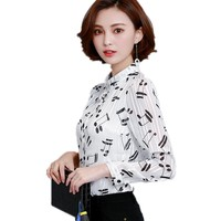 Spring New Music Notes Chiffon Print Shirt Women Flip POLO Sleeve Casual Blouse Female Tops