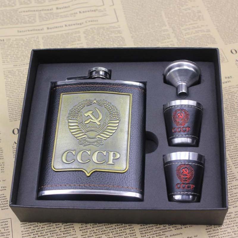 8 oz Acero inoxidable Alcohol Hip frascos whisky botella de vino embudo tazas botella Kits Cccp grabado Alcohol contenedor con caja