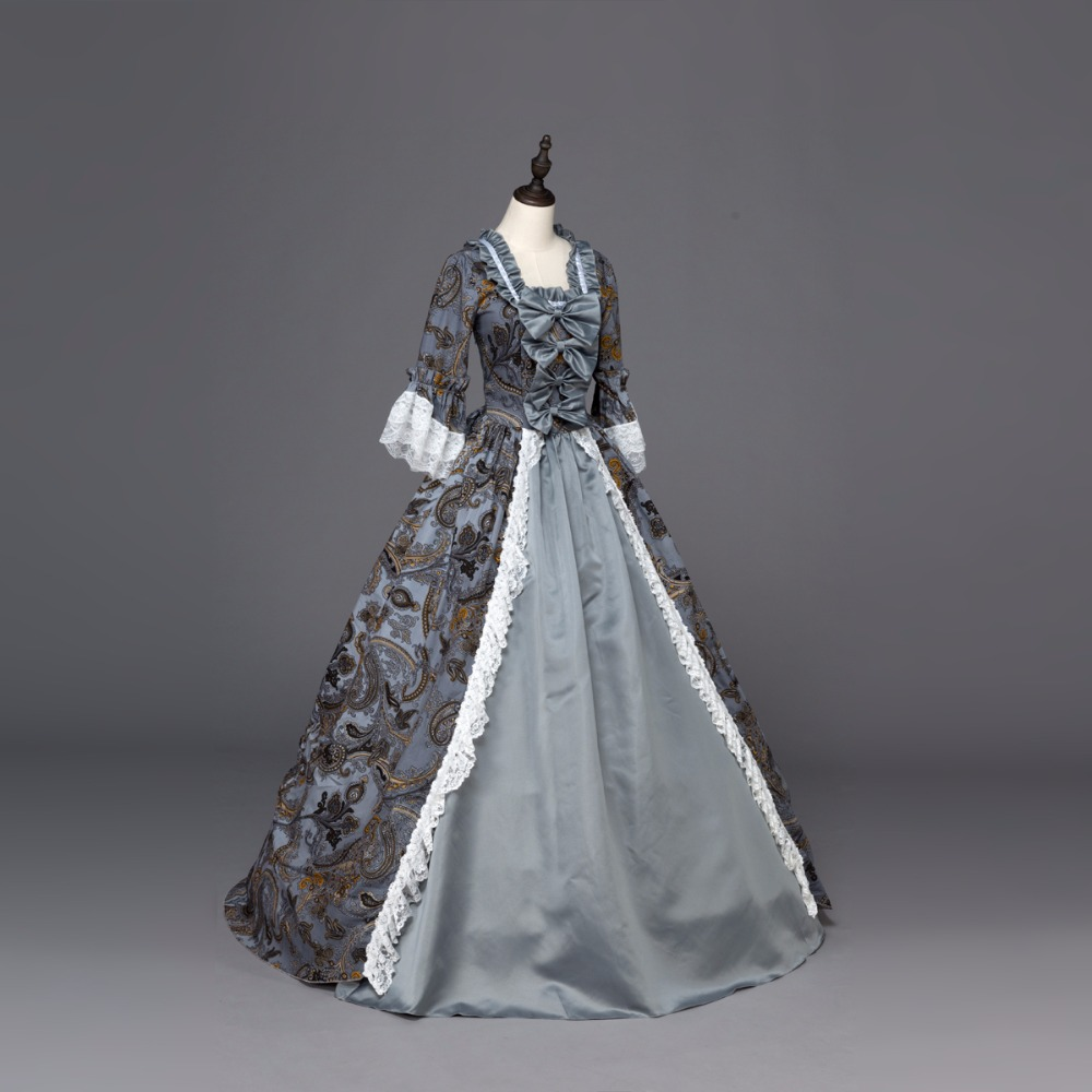 Top vente robe Bandage Marie Antoinette coloniale mascarade victorienne brocart théâtre robe de bal période robe imprimer argent/Champa