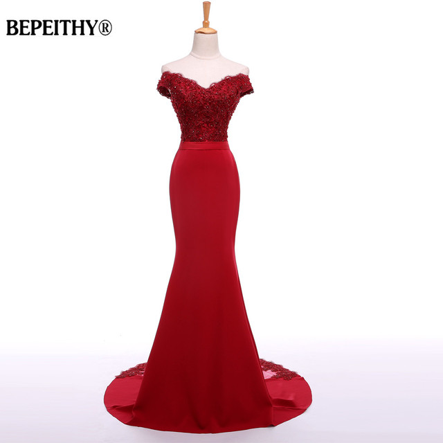 BEPEITHY Sexy Off The Shoulder Long Evening Dress Party Elegant 2019 100% Handmade Beadings Mermaid Prom Gowns Fast Shipping