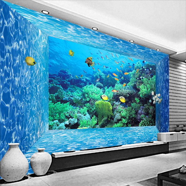 Wallpaper living room marine world creature coral aquarium for Aquarium decoration paint