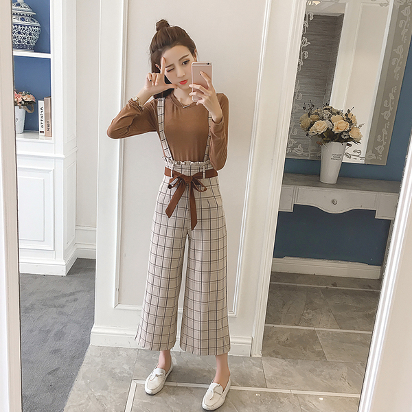 Spring/summer 2019 suspender pantsuit, slim long-sleeved T-shirt, retro British style, pants sets 2