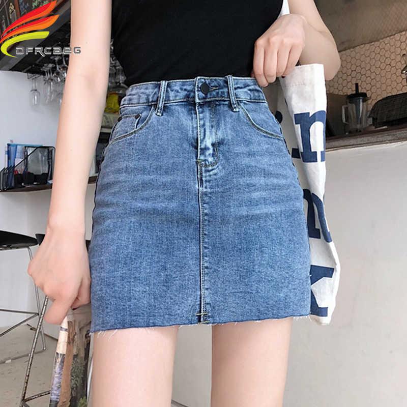 cbfac268bea Street Wear Blue Black Casual Mini Denim Skirt 2019 Spring Summer New Women  Pencil Skirt Pocket