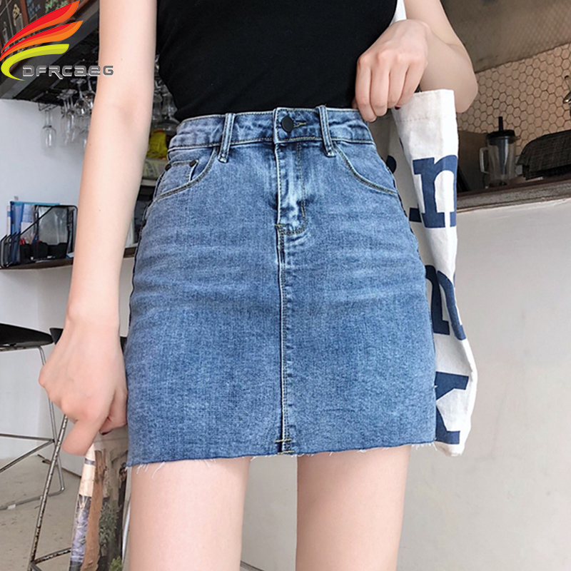 Street Wear Blue Black Casual Mini Denim Skirt 2019 Spring Summer New Women Pencil Skirt Pocket Jeans Skirt Midi Waist Skirts