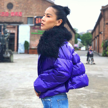 Down Coat Women Winter Clothing Mongolia Sheep Fur Loose Long Sleeve Thick White Goose Down Short Down Jackets Outwear