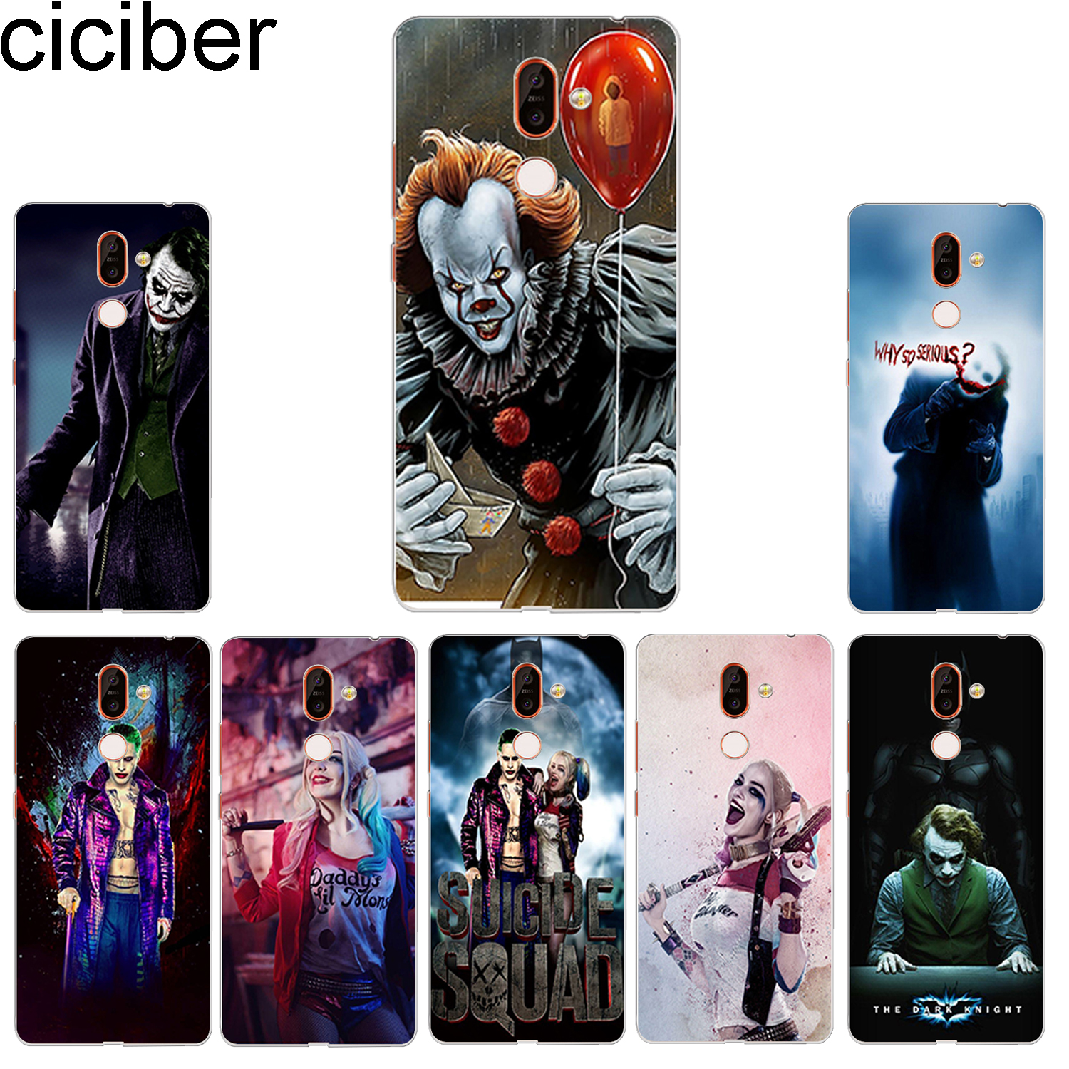 ciciber Phone Case for <font><b>Nokia</b></font> 9 PureView 1 2 3 5 6 7 8 Sirocco Soft TPU <font><b>Back</b></font> <font><b>Cover</b></font> for <font><b>Nokia</b></font> 2.1 3.1 5.1 6.1 <font><b>7.1</b></font> 8.1 Plus Joker image
