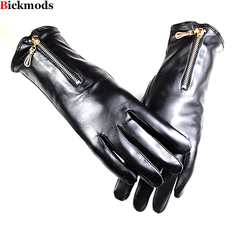 New Women's Sheepskin Leather Gloves Fashion Metal Zipper Style Repair Hand Velvet Lining Autumn And Winter Warm
