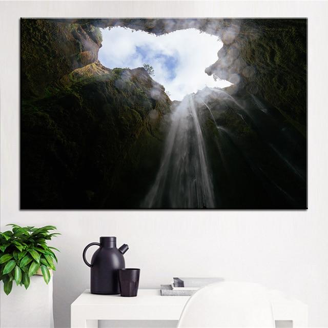 Große Größe Druck Ölgemälde Wasserfall Höhle Wand Malerei Decor Wandkunst  Bild Für Wohnzimmer Malerei Kein Rahmen
