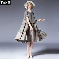 Плюс размеры платья для женщин для 2019 Новое поступление Лето шить свободные морщин черное платье vestidos