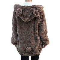Women Girl Winter Loose Fluffy Bear Ear Hoodie Hooded Jacket Warm Outerwear Coat H1301