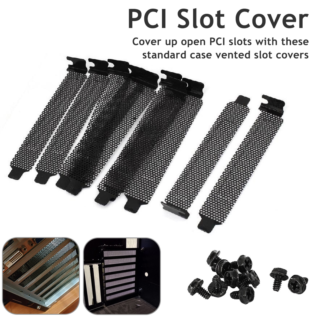 10 Pcs/lot Professional Hard Steel  Black Dust Filter Blanking Plate PCI Slot Cover  Dust Filter Blanking Screws