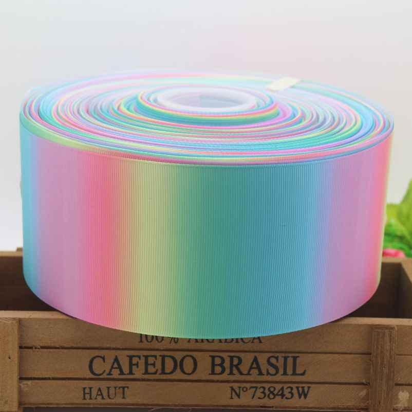 3 ''Gratis pengiriman rainbow colorful dicetak grosgrain pita headwear hairbow dekorasi pesta DIY grosir 75mm D581