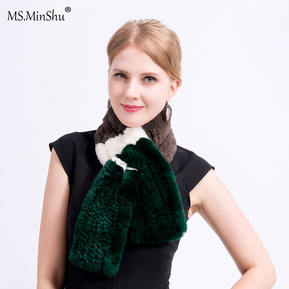 Ms.MinShu Women Scarf Real Rex Rabbit Fur Scarf Hand Knitted Short style Natural Fur Scarf Lady's Fashion Scarf Neck Warmer