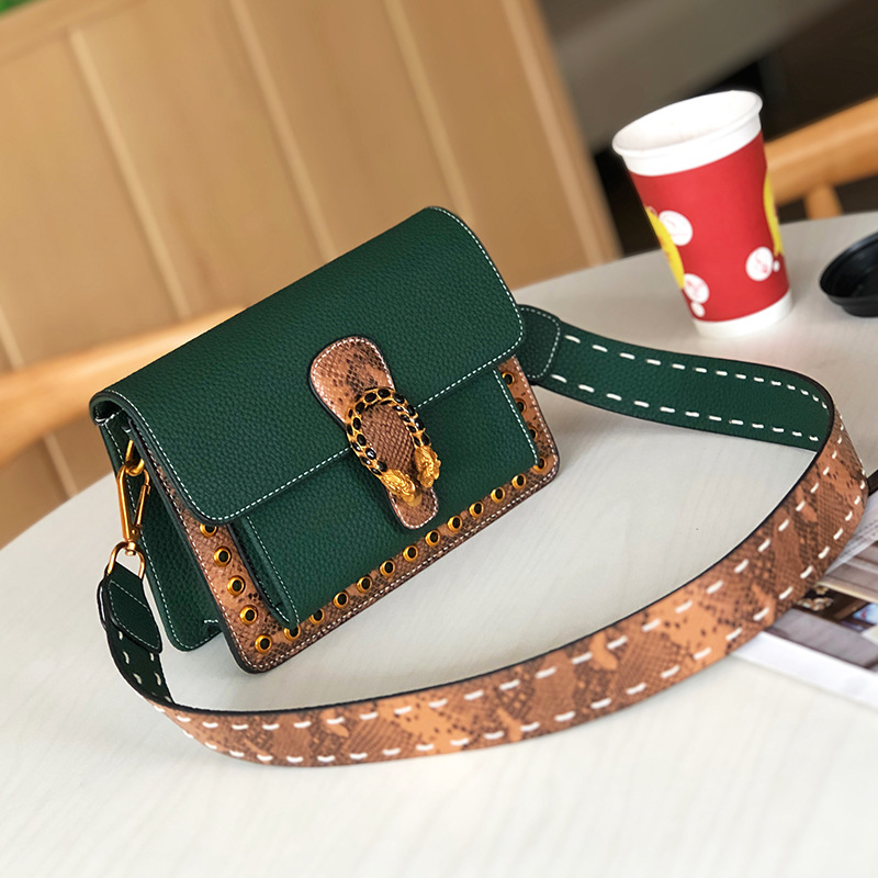 2018 Luxury Brand Design Women Vintage Green Brown Black Genuine Leather Crossbody Messenger Shoulder Bags for Party lignt brown stitching design crossbody bags