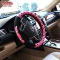 2016 Autumn Pink dot Girl's mocmoc cartoon Car Styling Bow-knot universal fit 38cm size Car Steering Wheel Cover women