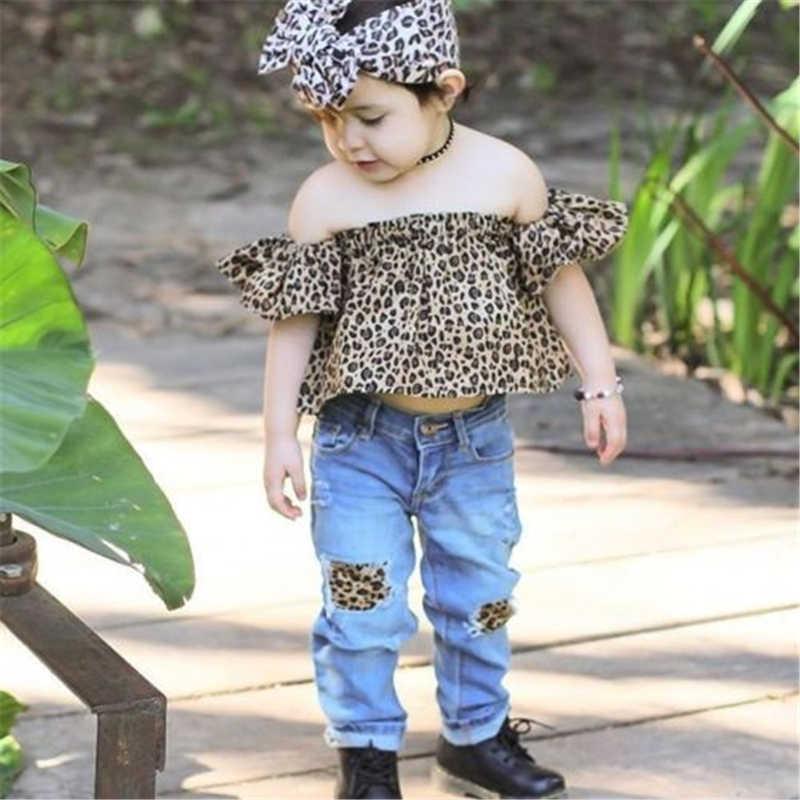 เสือดาว2ชิ้นเด็กวัยหัดเดินเด็กสาวเสือดาวOff-ไหล่สบายๆท็อปส์+คาดศีรษะชุดชุด1-6Yสำหรับ2017ฤดูใบไม้ร่วง