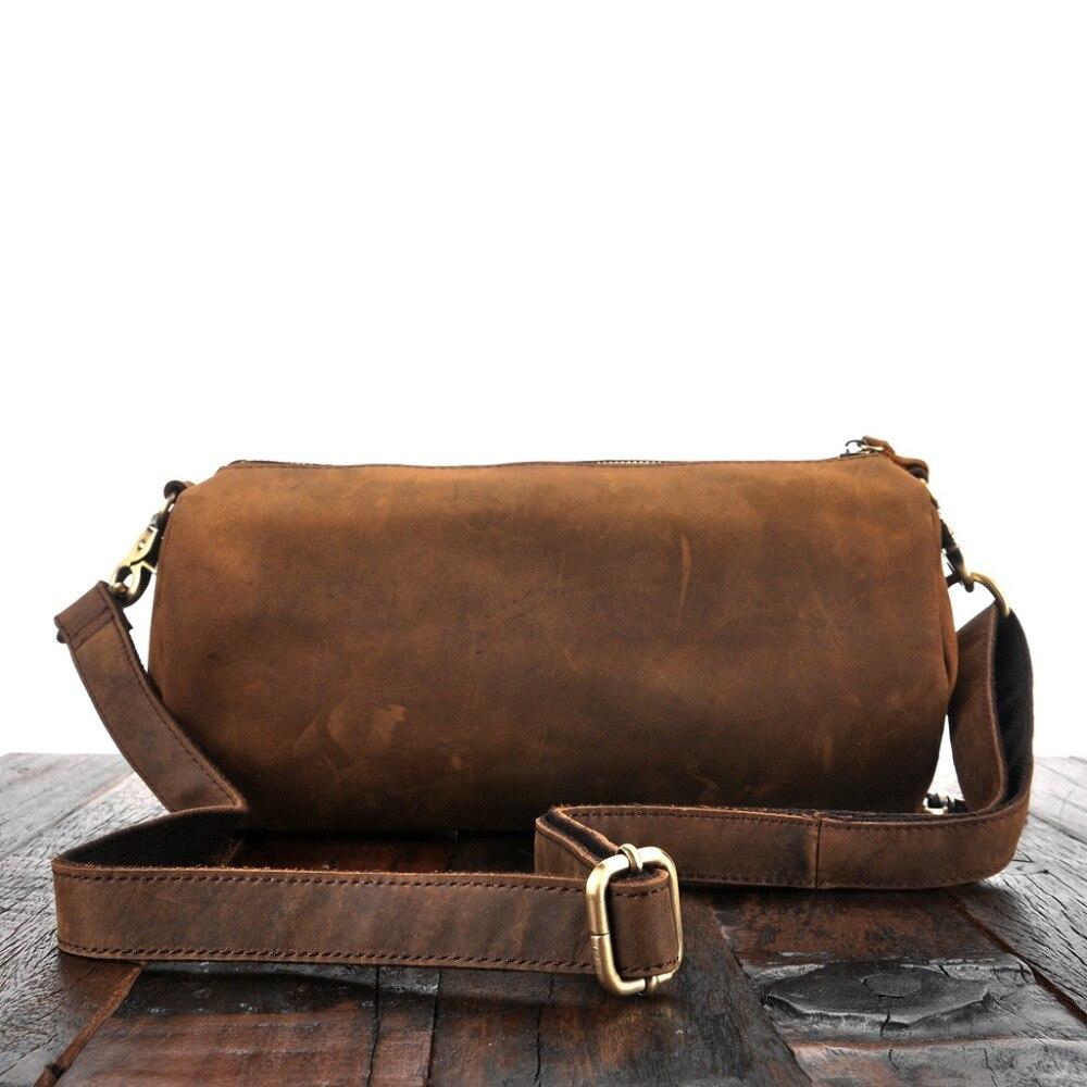 YISHEN Crazy Horse Genuine Leather Men Messenger Bags Fashion Vintage Barrel shaped Male Crossbody Bags Shoulder
