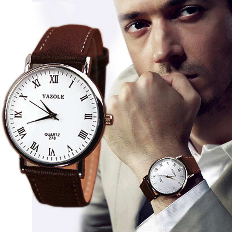 Fashion Men Watch Roman Numeral Dial Faux Leather Brown Strap Quartz Wrist Watch Relojes Hombre Heren Horloge Horloges Mannen