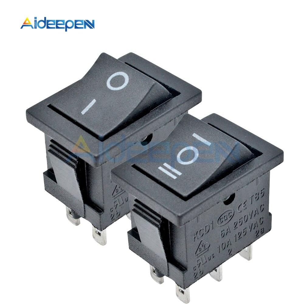 10A 6A 125V 12 Pcs Mini Noir SPDT ON-OFF Rocker Switch KCD1 AC 250V