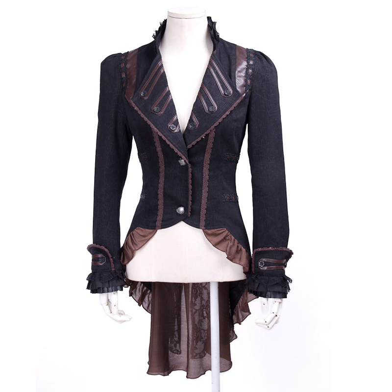 2017 Steampunk Autumn Winter Slim-Fitting V-Neck Long Ruffle Women Coats Punk Gothic Ladies Palace Vintage Dovetail Jackets