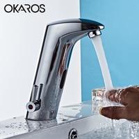 OKAROS Basin Sense Faucet Bathroom Ceramic Faucet Automatic Infrared Sensor Chrome Finshed Water Mixer Tap Torneira Cozinha